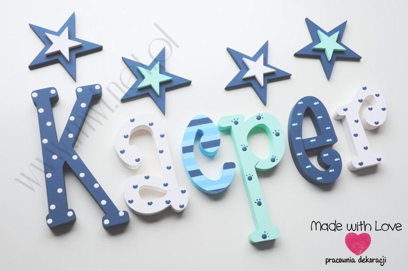 Literki imię dziecka na ścianę do pokoju - 3d - wzór MWL133 kacper kacperek janek