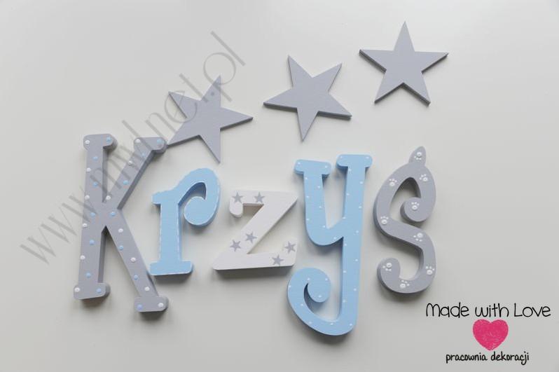 Literki imię dziecka na ścianę do pokoju - 3d - wzór MWL139 krzyś krzysztof krzysiek krzysiu