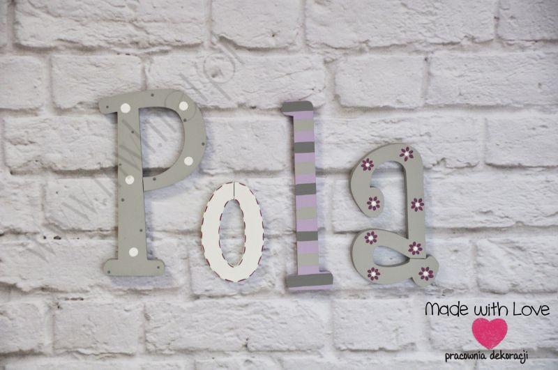 Literki imię dziecka na ścianę do pokoju - 3d wzór LP3(drewno) pola pola