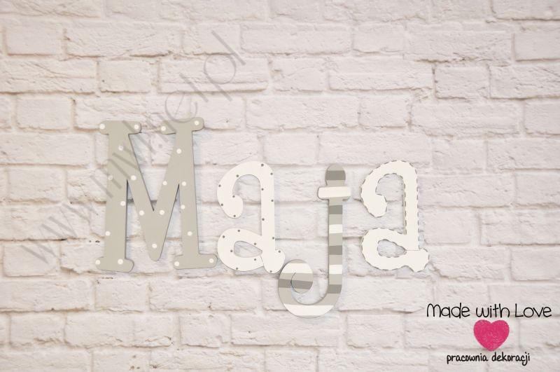 Literki imię dziecka na ścianę do pokoju - 3d - wzór LP4(drewno) maja maja