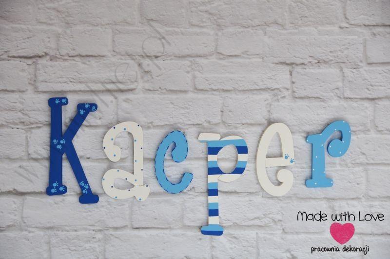 Literki imię dziecka na ścianę do pokoju - 3d - wzór LP7(drewno) kacper kacper