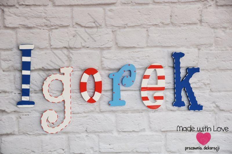 Literki imię dziecka na ścianę do pokoju - 3d - wzór LP8(drewno) igorek igorek