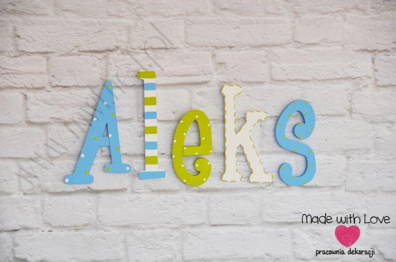 Literki imię dziecka na ścianę do pokoju - 3d - wzór LP9(drewno) aleks aleks