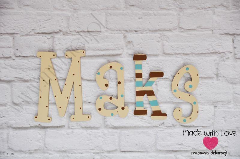 Literki imię dziecka na ścianę do pokoju - 3d - wzór LP10(drewno) maks maks