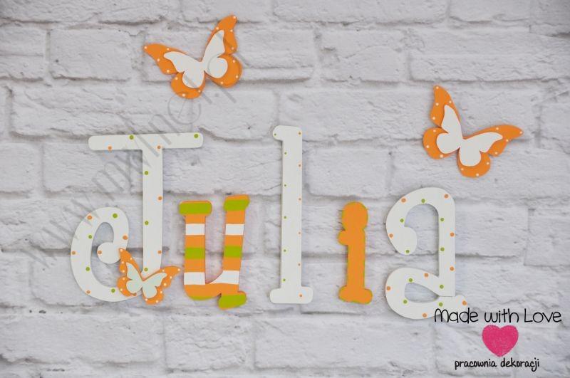 Literki imię dziecka na ścianę do pokoju - 3d - wzór LP11(drewno) julia julia