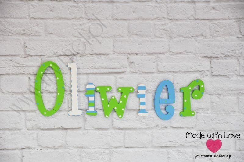 Literki imię dziecka na ścianę do pokoju - 3d - wzór LP16(drewno) oliwier oliwier