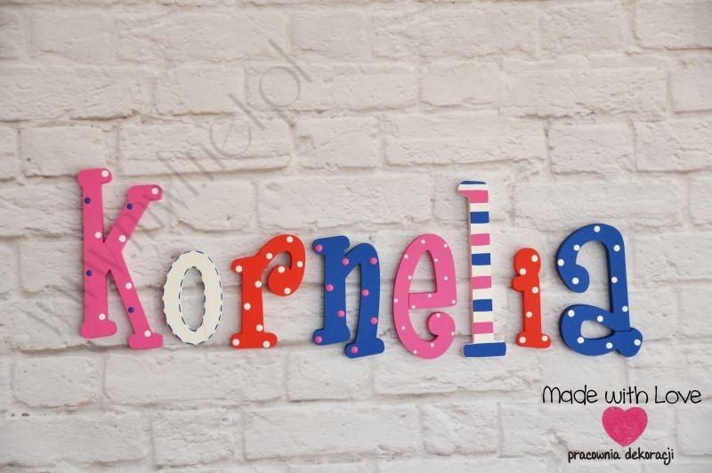 Literki imię dziecka na ścianę do pokoju - 3d - wzór LP18(drewno) kornelia kornelia