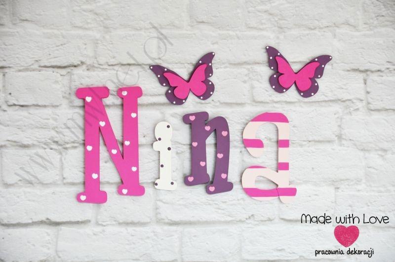 Literki imię dziecka na ścianę do pokoju - 3d - wzór LP19(drewno) nina nina