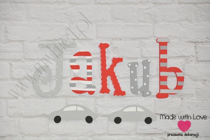 Literki imię dziecka na ścianę do pokoju - 3d - wzór LP22(drewno) jakub jakub