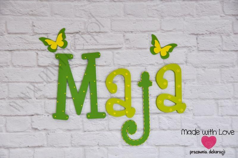 Literki imię dziecka na ścianę do pokoju - 3d - wzór LP23(drewno) maja maja