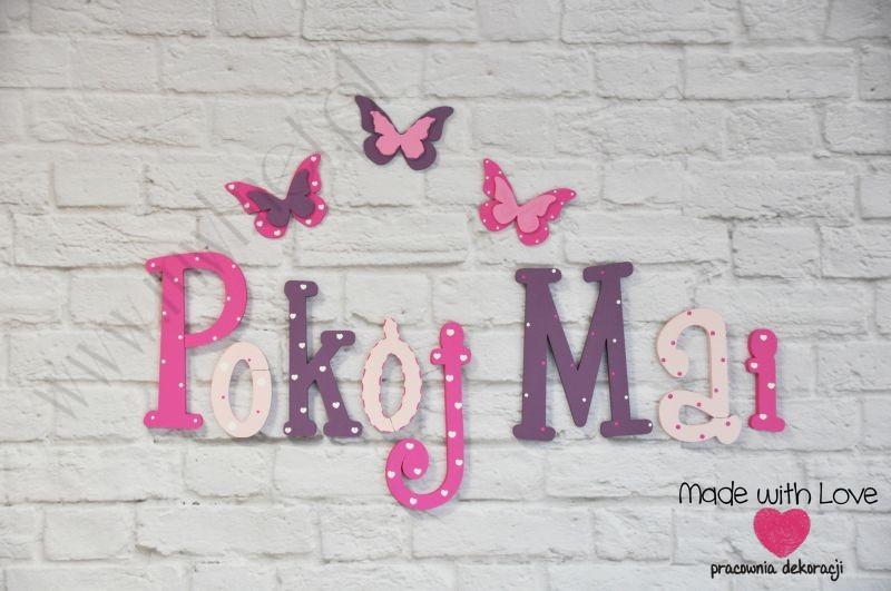 Literki imię dziecka na ścianę do pokoju - 3d - wzór LP24(drewno) maja maja