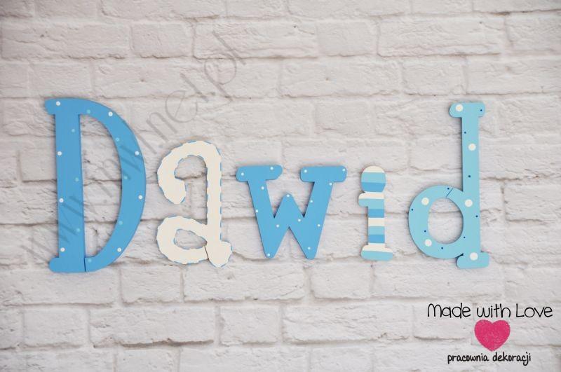 Literki imię dziecka na ścianę do pokoju - 3d - wzór LP25(drewno) dawid dawid