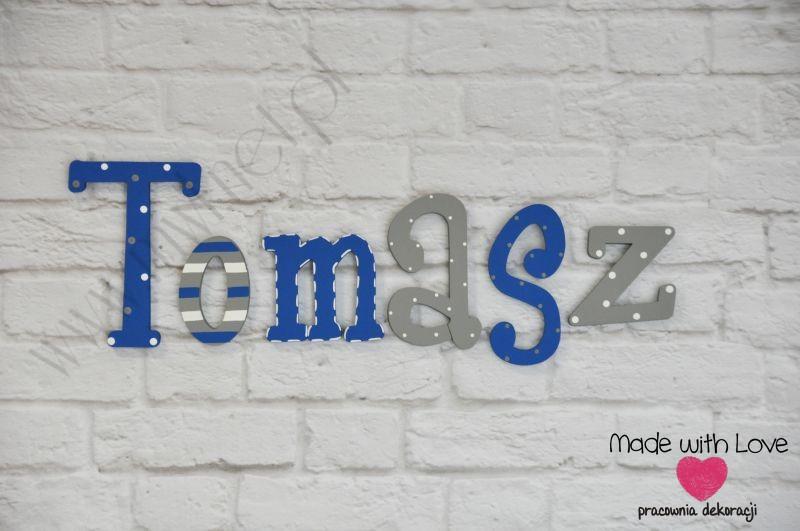 Literki imię dziecka na ścianę do pokoju - 3d - wzór LP26(drewno) tomasz tomasz