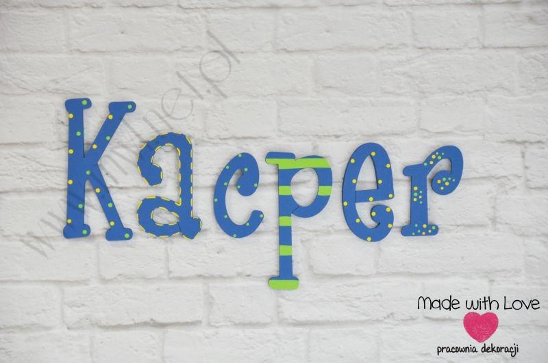 Literki imię dziecka na ścianę do pokoju - 3d - wzór LP27(drewno) kacper kacper