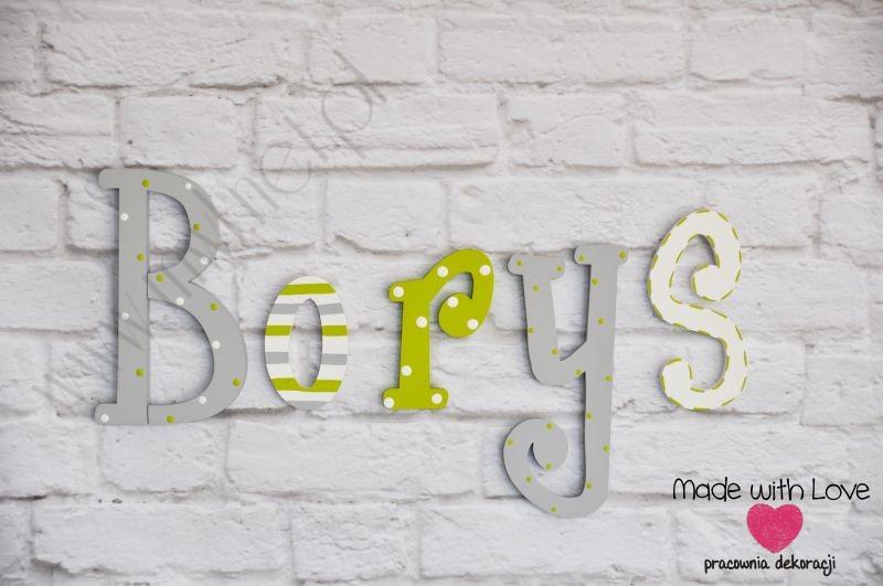 Literki imię dziecka na ścianę do pokoju - 3d - wzór LP30(drewno) borys borys