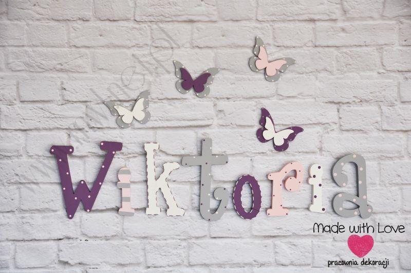 Literki imię dziecka na ścianę do pokoju - 3d - wzór LP31(drewno) wiktoria wiktoria