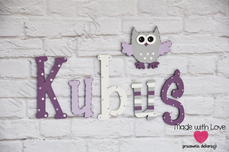 Literki imię dziecka na ścianę do pokoju - 3d - wzór LP32(drewno) kubuś kubuś