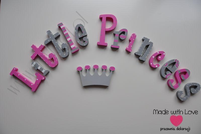Literki imię dziecka na ścianę do pokoju - 3d - wzór MWL54 princess princess
