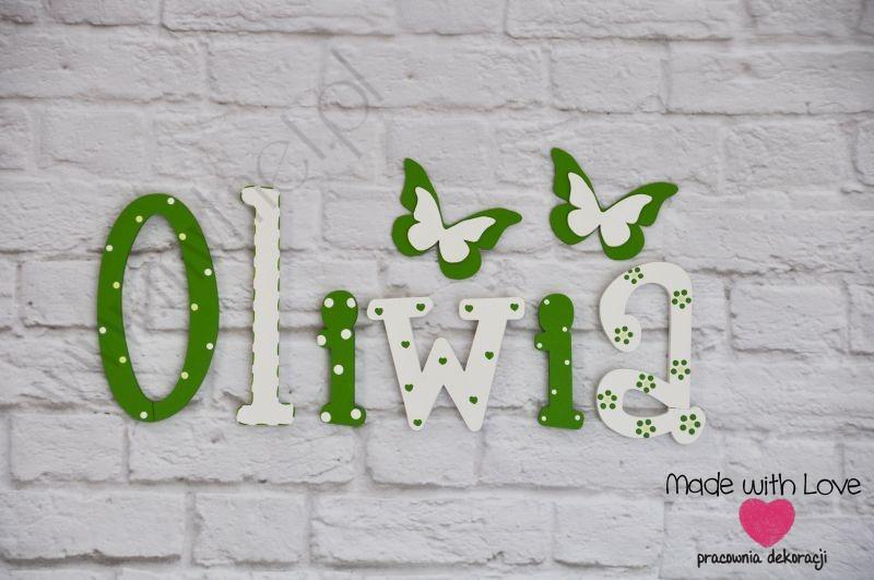 Literki imię dziecka na ścianę do pokoju - 3d - wzór LP35(drewno) oliwia oliwia