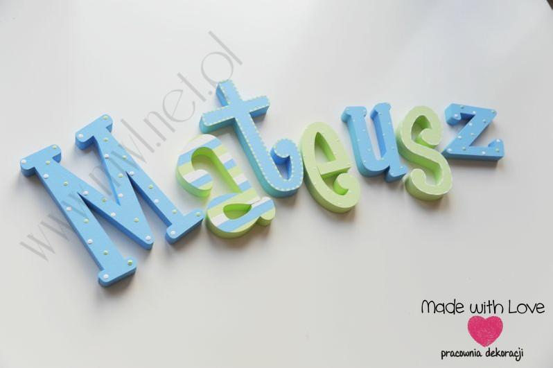 Literki imię dziecka na ścianę do pokoju - 3d - wzór MWL140 mateusz mateusz
