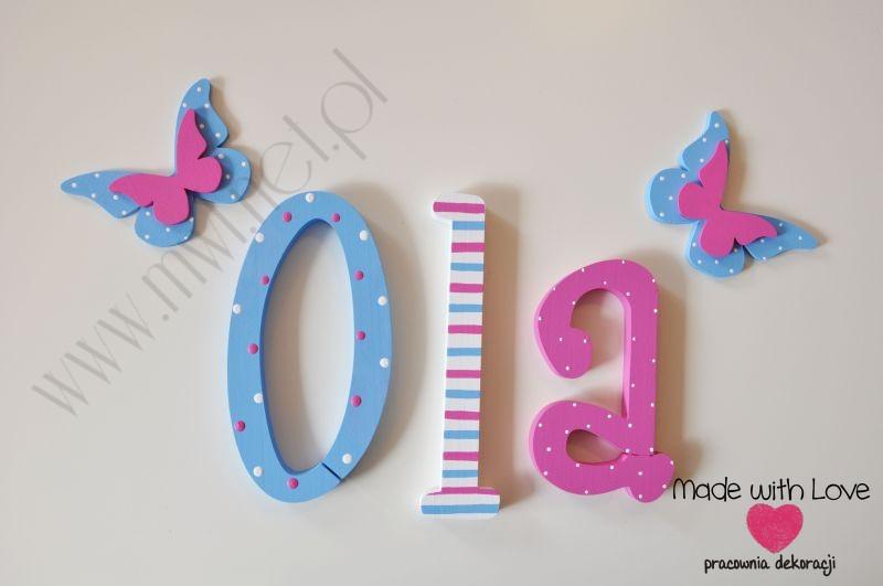 Literki imię dziecka na ścianę do pokoju - 3d - wzór MWL6 ola ola