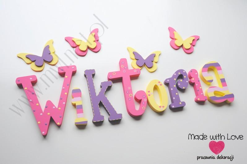 LITERKI imię dziecka na ścianę do pokoju - 3d - WZÓR mwl141 wiki wiktoria igusia