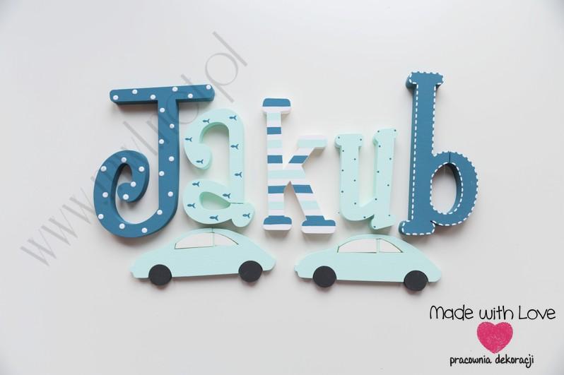 LITERKI imię dziecka na ścianę do pokoju - 3d - WZÓR mwl145 jakub jakub