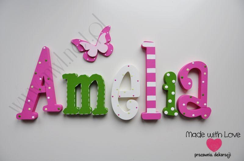 Literki imię dziecka na ścianę do pokoju - 3d - wzór MWL67 amelia amelia