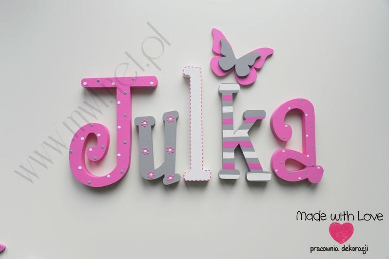 Literki imię dziecka na ścianę do pokoju - 3d - wzór MWL69 julia julka julcia