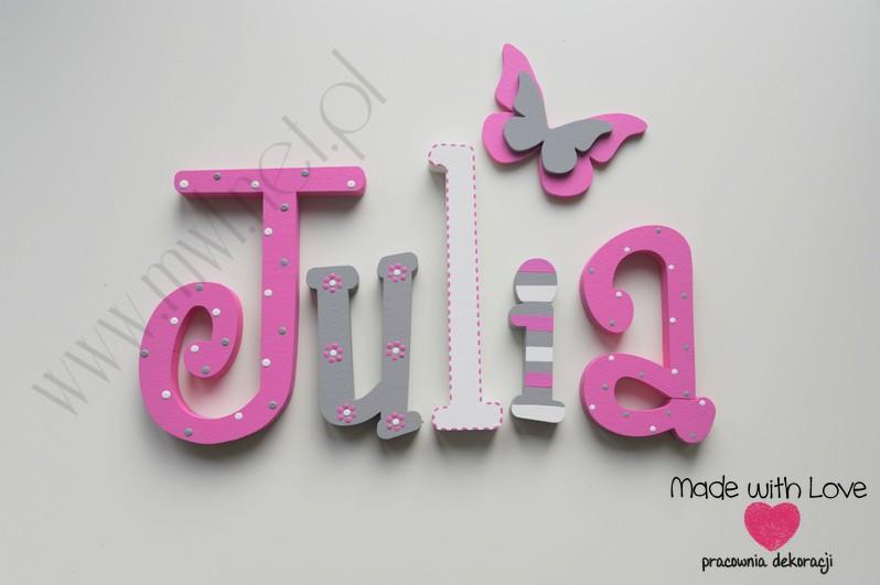 Literki imię dziecka na ścianę do pokoju - 3d - wzór MWL69 julka julia julcia