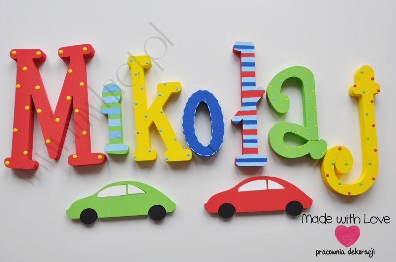 Literki imię dziecka na ścianę do pokoju - 3d - wzór MWL72 mikołaj miki mikuś mikołaj multikolor kolorowe