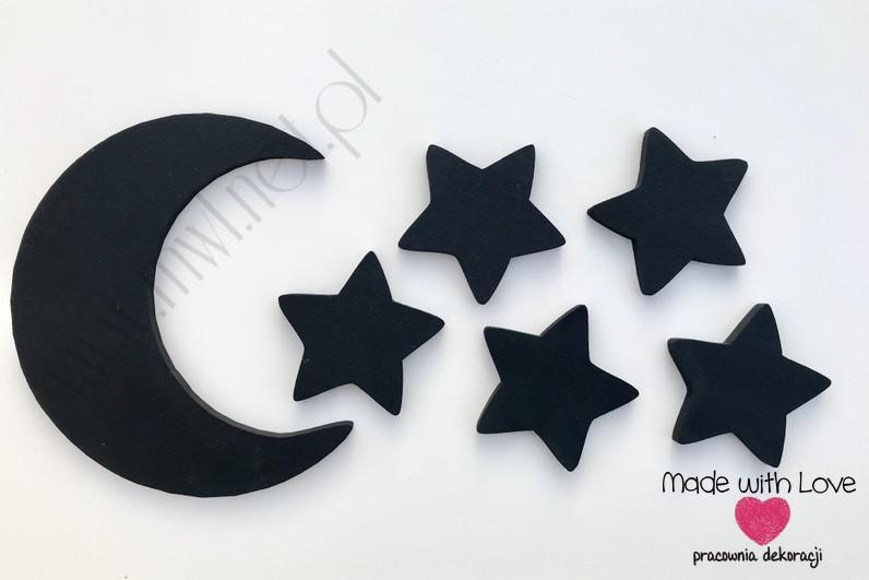Księżyc z gwiazdkami - czarny