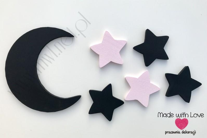 Księżyc z gwiazdkami - czarny+jasny róż