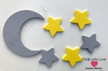 Księżyc z gwiazdkami - szary+żółty
