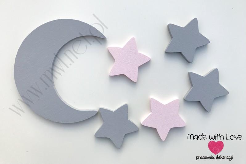 Księżyc z gwiazdkami - szary+jasny róż
