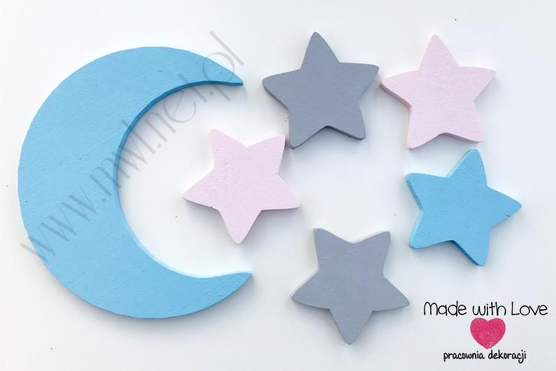 Księżyc z gwiazdkami - szary+jasny róż+błękit