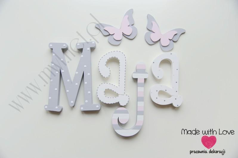 Literki imię dziecka na ścianę do pokoju - 3d - wzór MWL74 maja majka julia