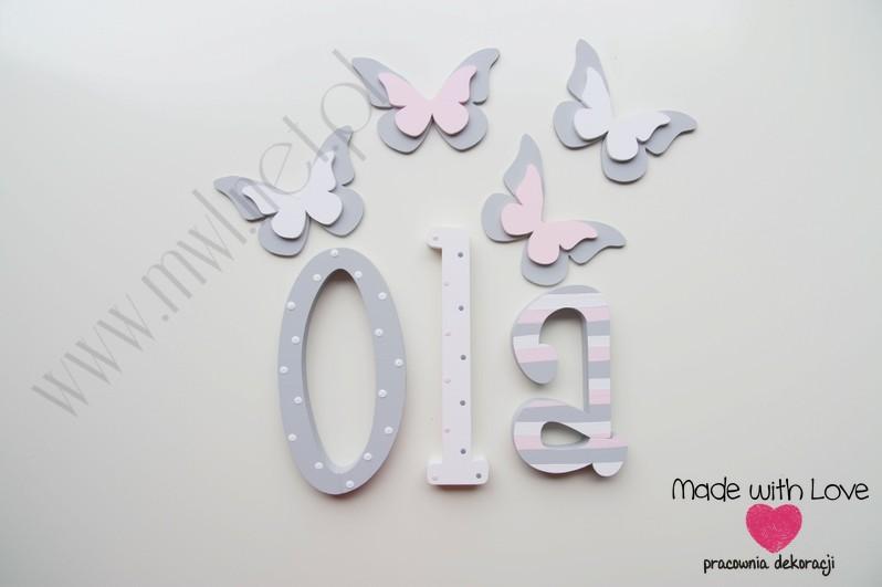 Literki imię dziecka na ścianę do pokoju - 3d - wzór MWL74 ola olcia aleksandra julia