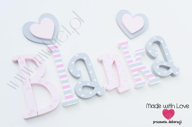 Literki imię dziecka na ścianę do pokoju - 3d - wzór MWL75 blania blanka blaneczka blanusia