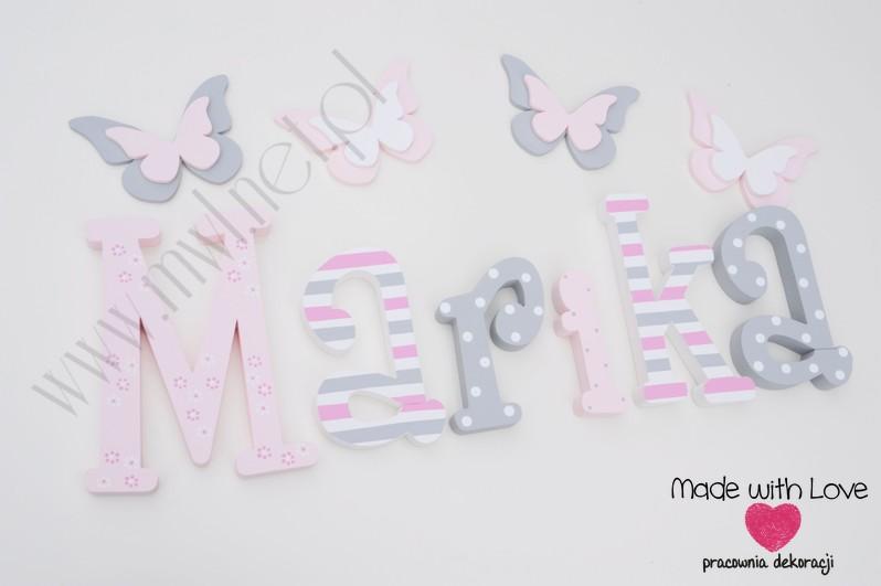 Literki imię dziecka na ścianę do pokoju - 3d - wzór MWL75 marika mariczka