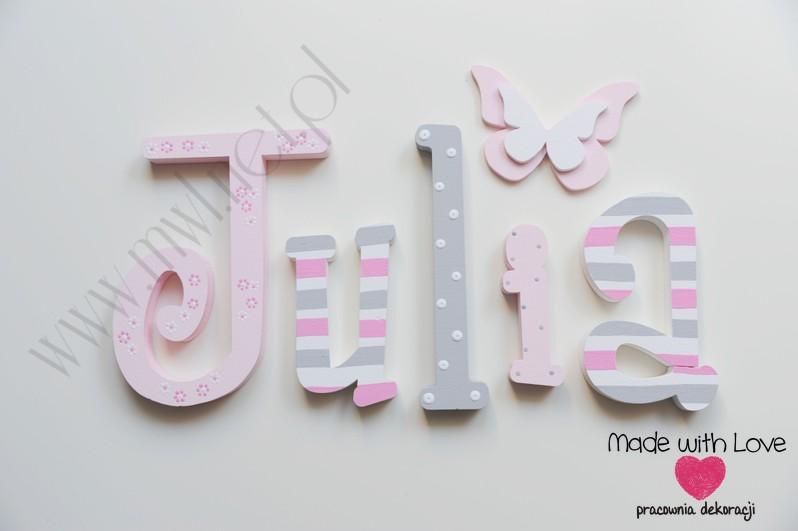 Literki imię dziecka na ścianę do pokoju - 3d - wzór MWL75 julia julka julcia