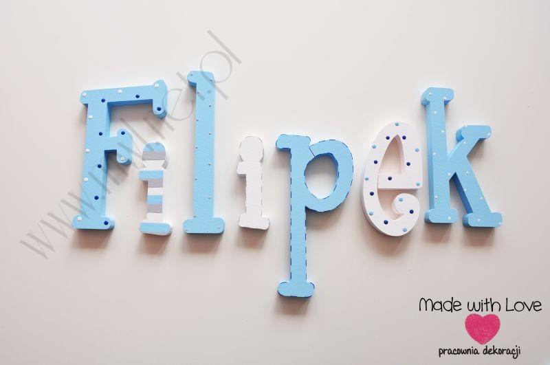 Literki imię dziecka na ścianę do pokoju - 3d - wzór MWL92 filipek filipek