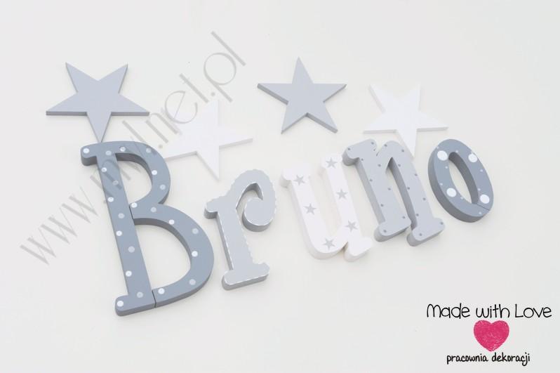 Literki imię dziecka na ścianę do pokoju - 3d 20cm - wzór MWL156 bruno bruncio filip