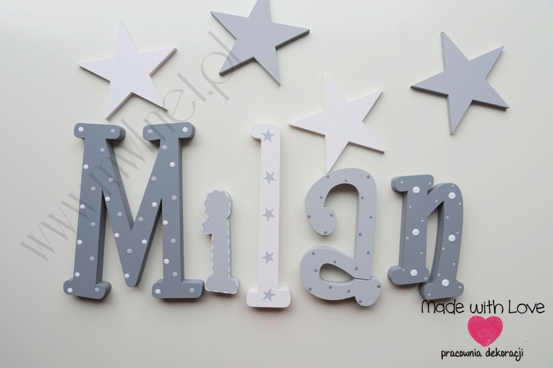 Literki imię dziecka na ścianę do pokoju - 3d 25cm - wzór MWL156 milan milanek
