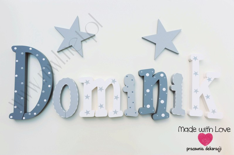 Literki imię dziecka na ścianę do pokoju - 3d 25cm - wzór MWL156 dominik domiś