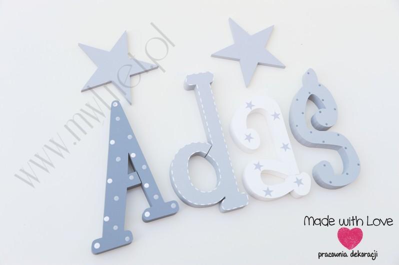 Literki imię dziecka na ścianę do pokoju - 3d 25cm - wzór MWL156 adaś adam