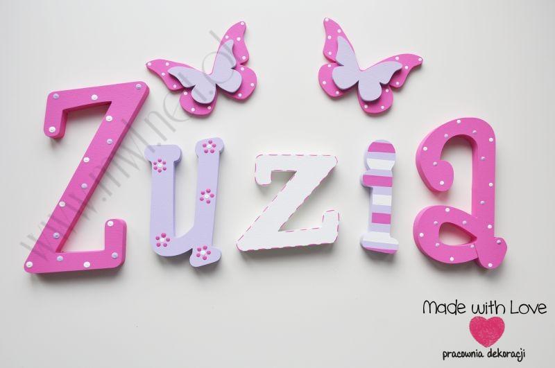 Literki imię dziecka na ścianę do pokoju - 3d - wzór MWL79 zuzia zuzka zuzanna zuza zuzia