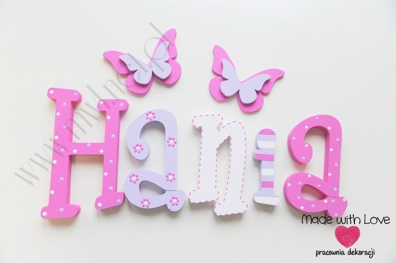 Literki imię dziecka na ścianę do pokoju - 3d - wzór MWL79 hania hanka haneczka hanna hanusia zuzia