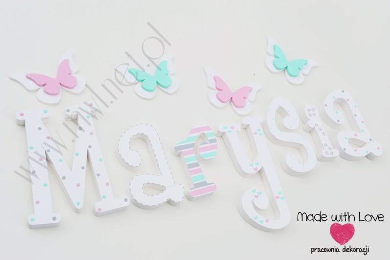 Literki imię dziecka na ścianę do pokoju - 3d 25cm - wzór MWL159 marysia maria maryśka
