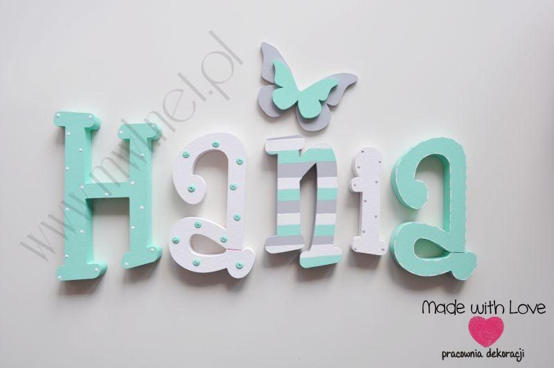 Literki imię dziecka na ścianę do pokoju - 3d - wzór MWL88 hania hanka haneczka hania